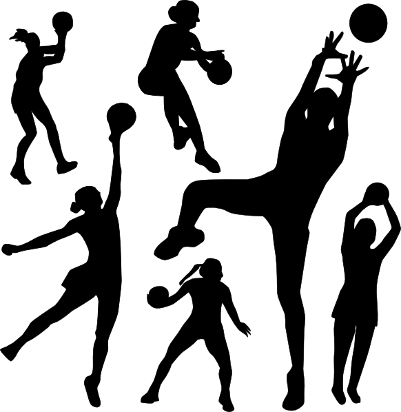 Passing basketball clipart svg royalty free stock Netball Silhouette clip art - vector clip art online, royalty free ... svg royalty free stock