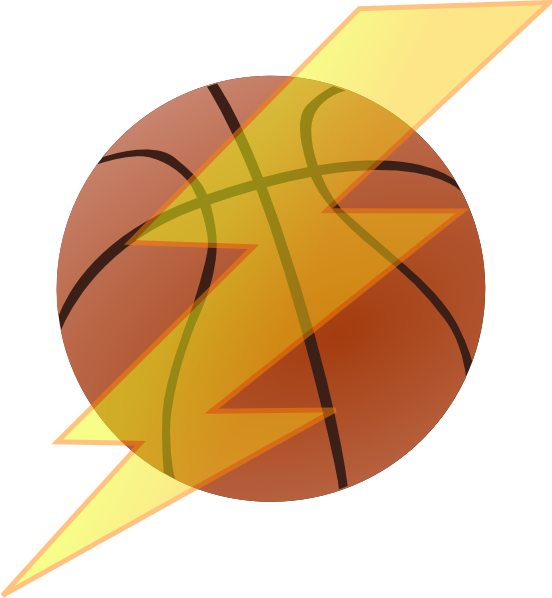 Small basketball clipart clip black and white stock Basketball With Lightning Bolt Clip Art at Clker.com - vector clip ... clip black and white stock