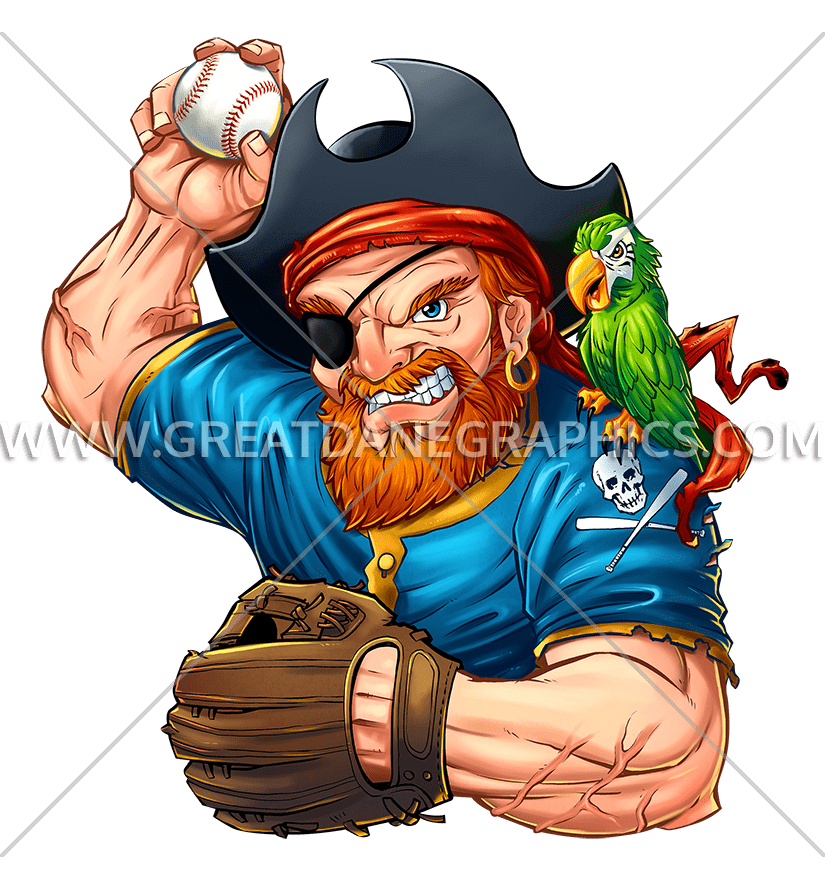 Pirate Baseball Player | Production Ready Artwork for T-Shirt Printing banner black and white