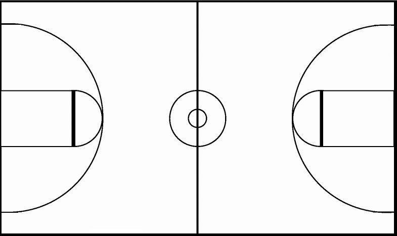 Basketball court lines clipart
