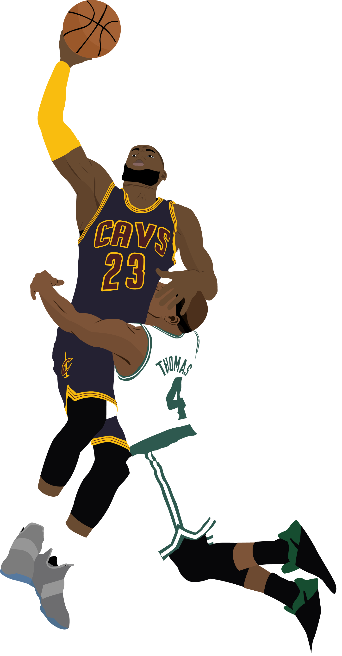 Basketball player dunking clipart svg transparent Murphy Miranda - LeBron James Dunk On Isaiah Thomas Illustration svg transparent