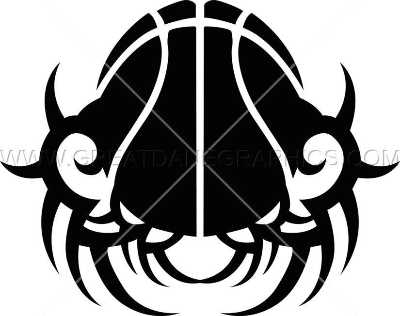 Basketball emblem clipart graphic freeuse download Tribal Spiked Basketball   Production Ready Artwork for T-Shirt Printing graphic freeuse download