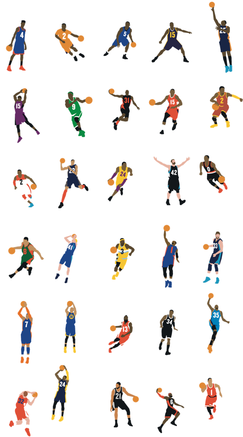 Retro basketball players shooting clipart clipart royalty free stock NBA players. I recognize Kyrie, Rajon, D-Cuz, Wall, Love, Lillard ... clipart royalty free stock