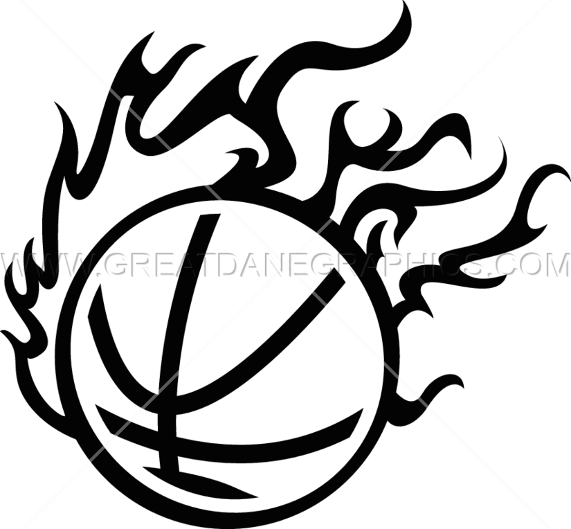White basketball flames clipart banner black and white download Fireball Basketball | Production Ready Artwork for T-Shirt Printing banner black and white download