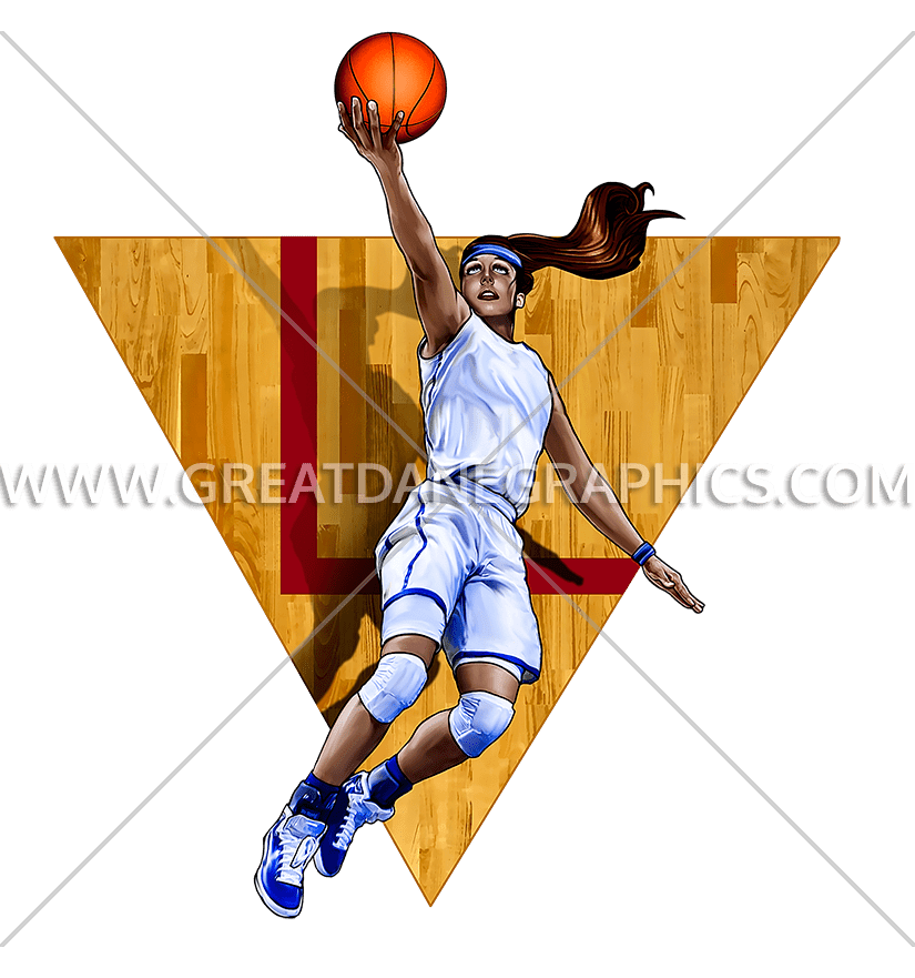 Girl dunking basketball clipart picture library Girls Basketball Layup | Production Ready Artwork for T-Shirt Printing picture library