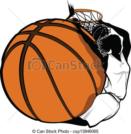 Basketball graphics clipart clip art black and white Clip Art Vector of Female Basketball Dunk Design - Color vector ... clip art black and white
