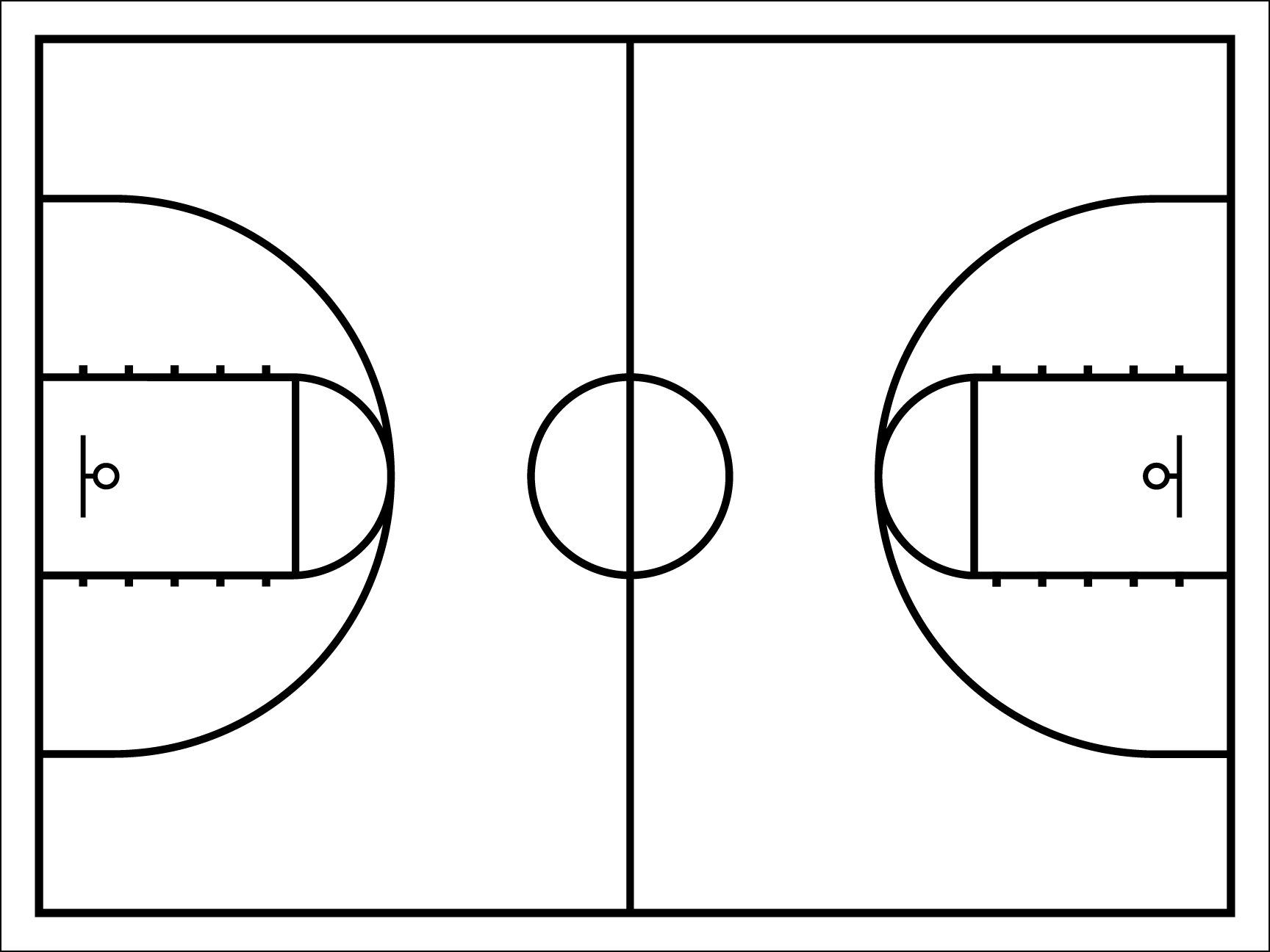 Basketball half court clipart graphic free library Half Court Basketball Template - Costumepartyrun graphic free library