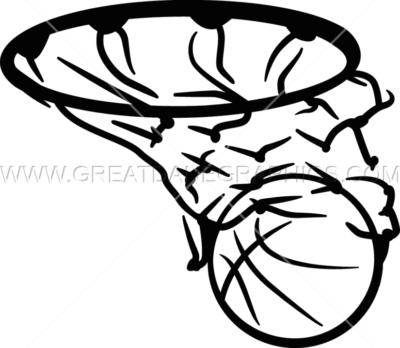 Black and white basketball hoop clipart graphic freeuse download Basketball in Net | Production Ready Artwork for T-Shirt Printing graphic freeuse download