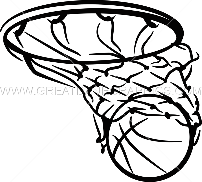 Black and white basketball hoop clipart free library Basketball in Net | Production Ready Artwork for T-Shirt Printing free library