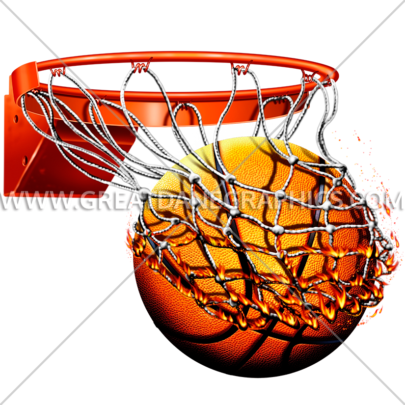 Basketball video clipart black and white library Flaming Basketball With Net | Production Ready Artwork for T-Shirt ... black and white library