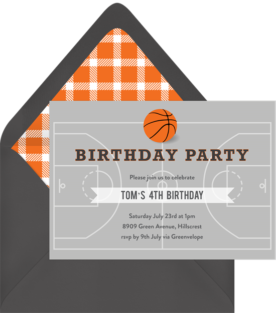 Basketball invitations clipart banner download Basketball Party Invitations | Greenvelope.com banner download