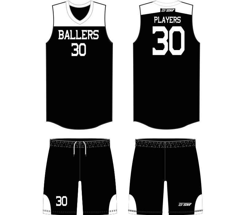 White basketball shorts clipart vector black and white Sublimated Full Basketball Uniform - Gitch Sportswear vector black and white