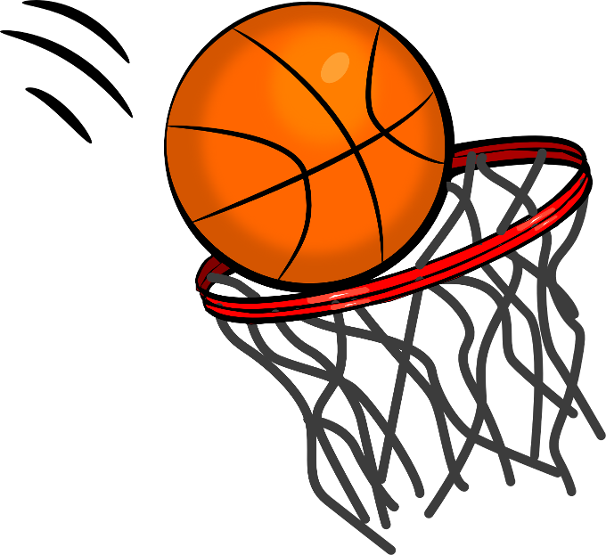 Distressed basketball and net clipart