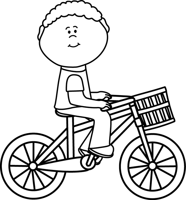 Kids with basketball laughing clipart black and white picture library Black & White Boy Riding a Bicycle with a Basket | coloring pages ... picture library