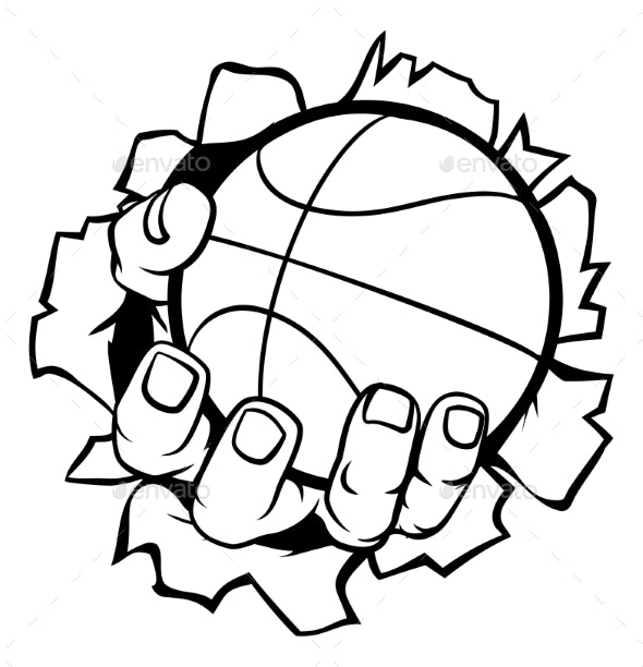 Basketball net image ripped clipart vector library stock Basketball Ball Hand Ripping Background vector library stock
