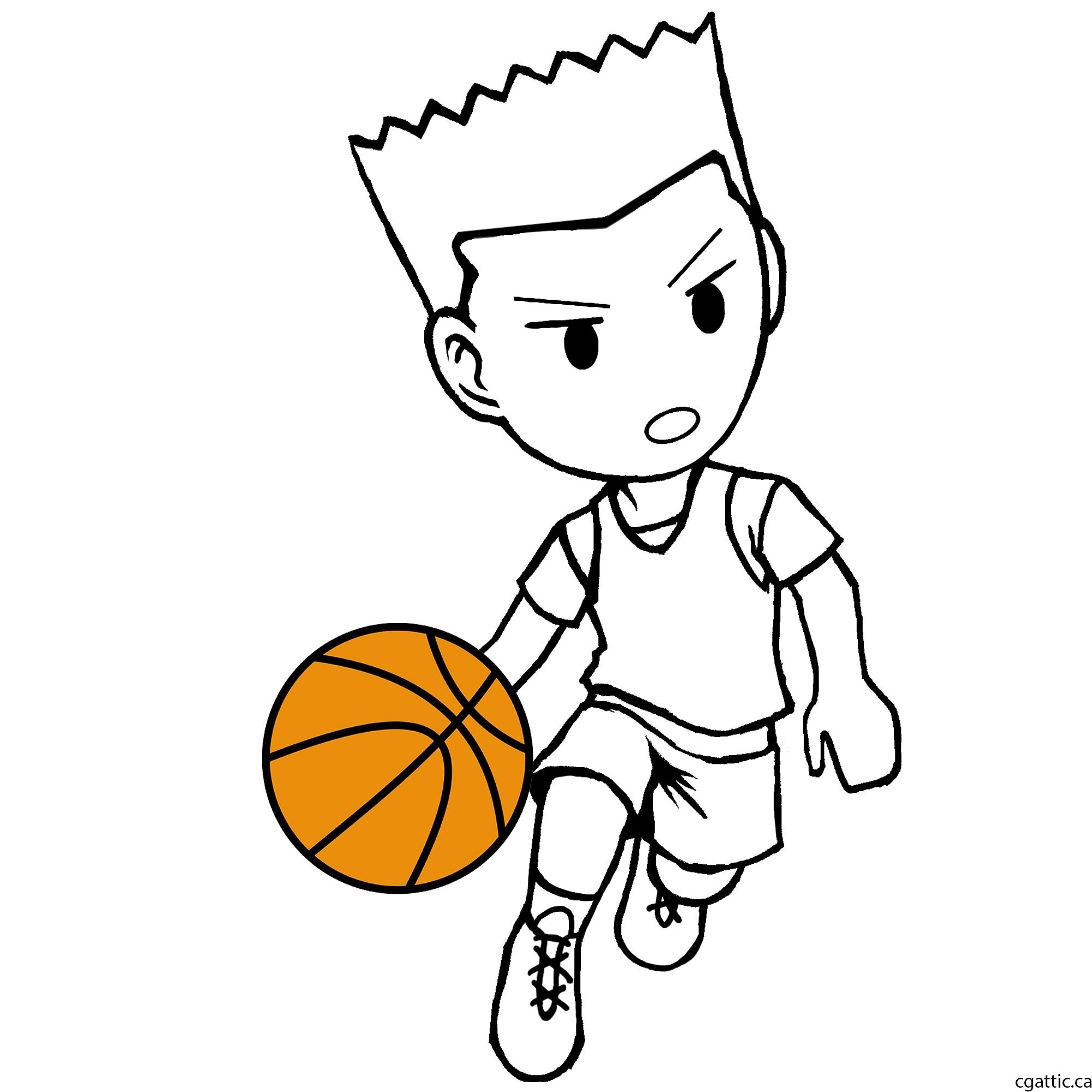 Basketball photoshop real clipart clip royalty free library Cartoon Basketball Player Drawing in 4 Steps With Photoshop | How to ... clip royalty free library