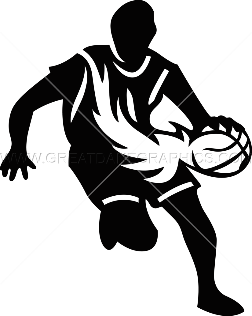 Basketball player dribbling clipart black and white Player With Flaming Basketball | Production Ready Artwork for T ... black and white