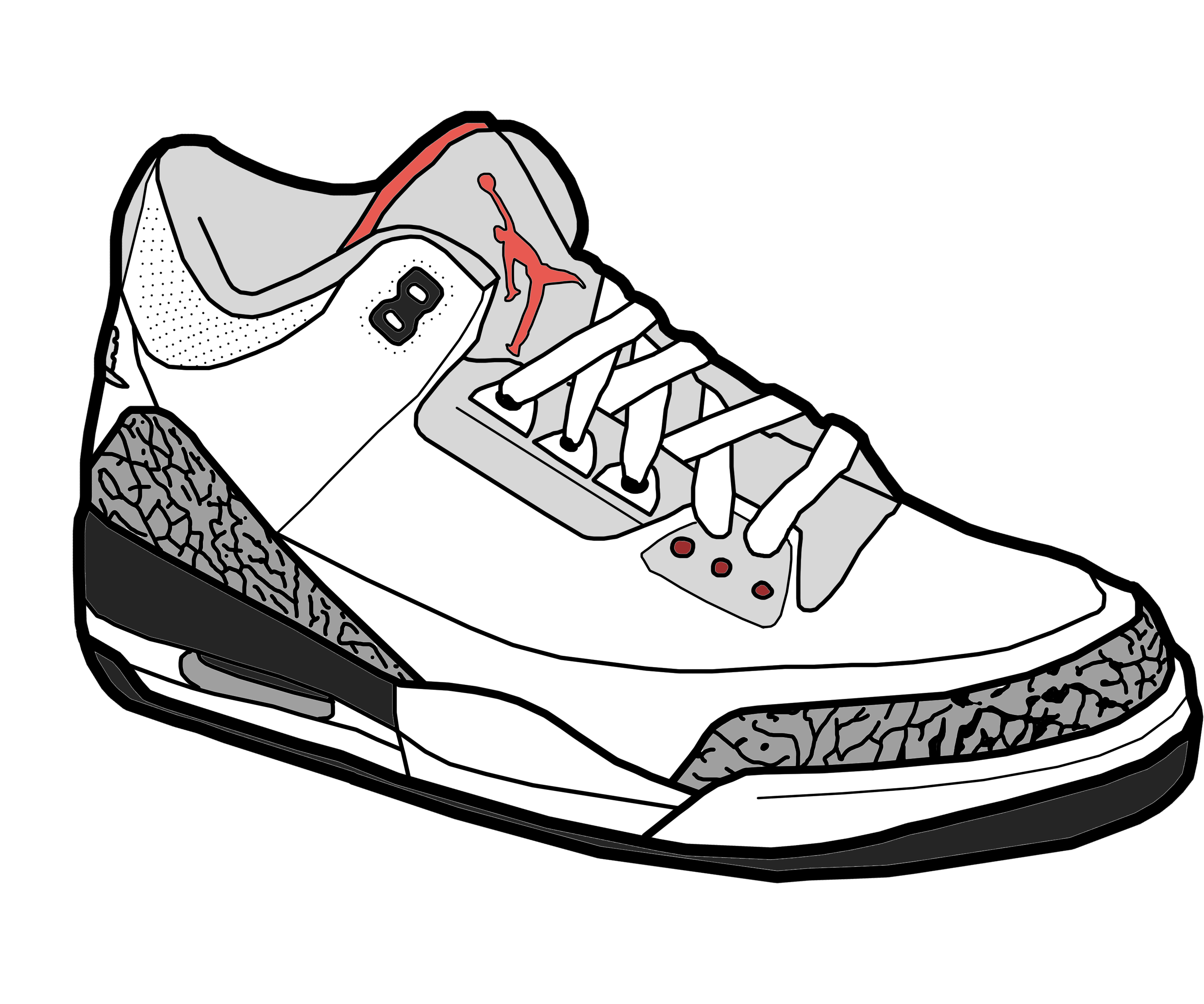 Basketball shoes black and white clipart svg library download Jumpman Air Jordan Shoe Sneakers Clip art - cartoon shoes 3000*2500 ... svg library download