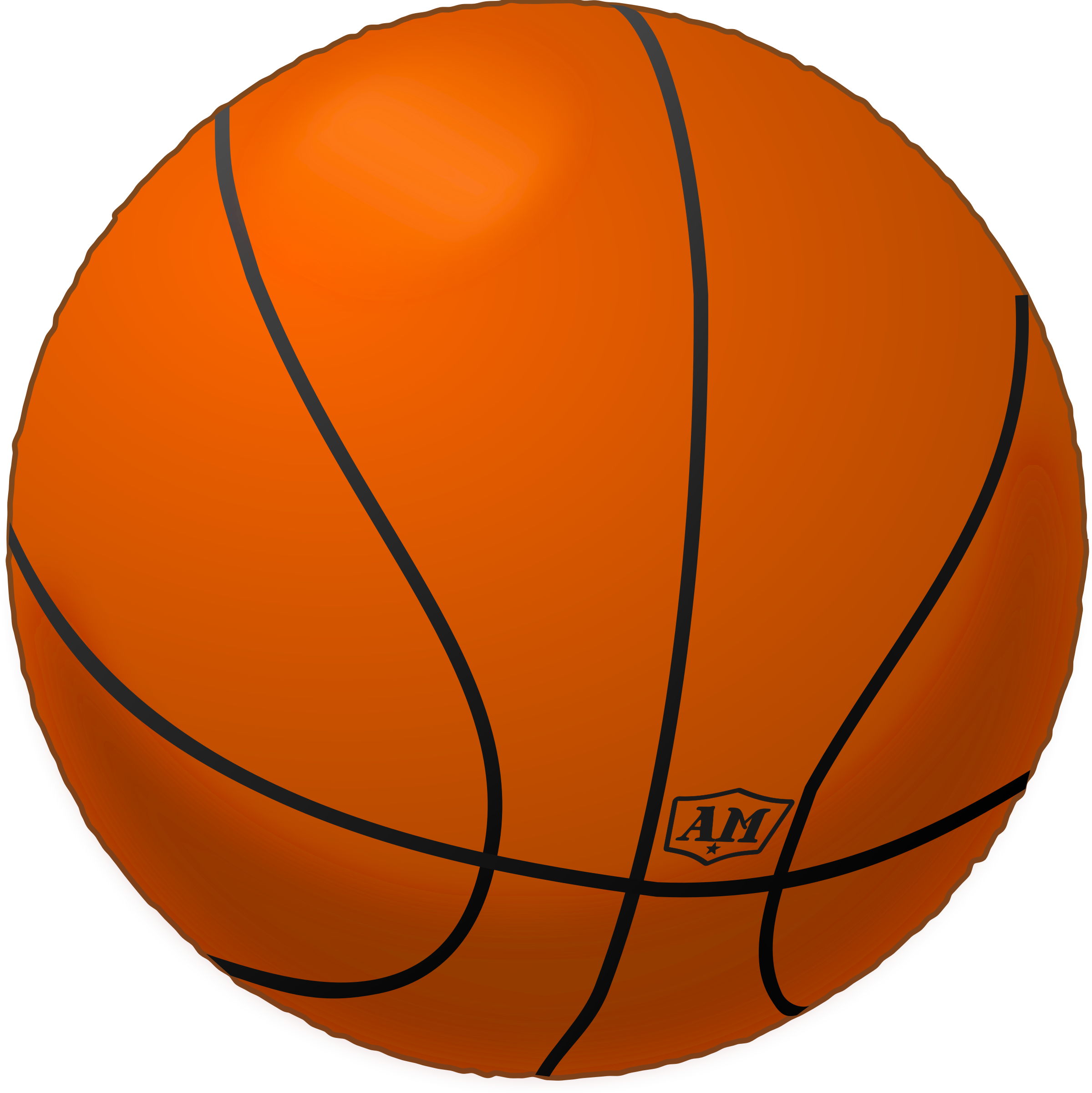 Library of basketball with bow clip freeuse download png ... (2399 x 2400 Pixel)