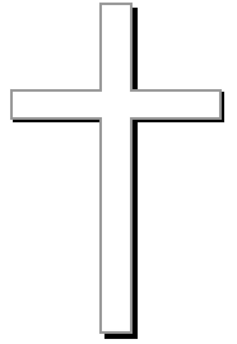 White cross w/ gray outline, black shadow, and light gray background ... banner transparent