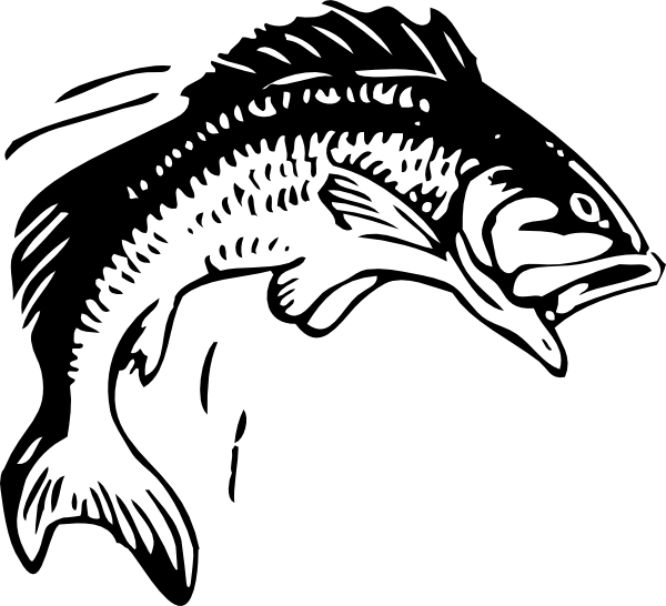 Bass fish vector clipart black and white download fishing clip art | Jumping Fish clip art - vector clip art online ... black and white download