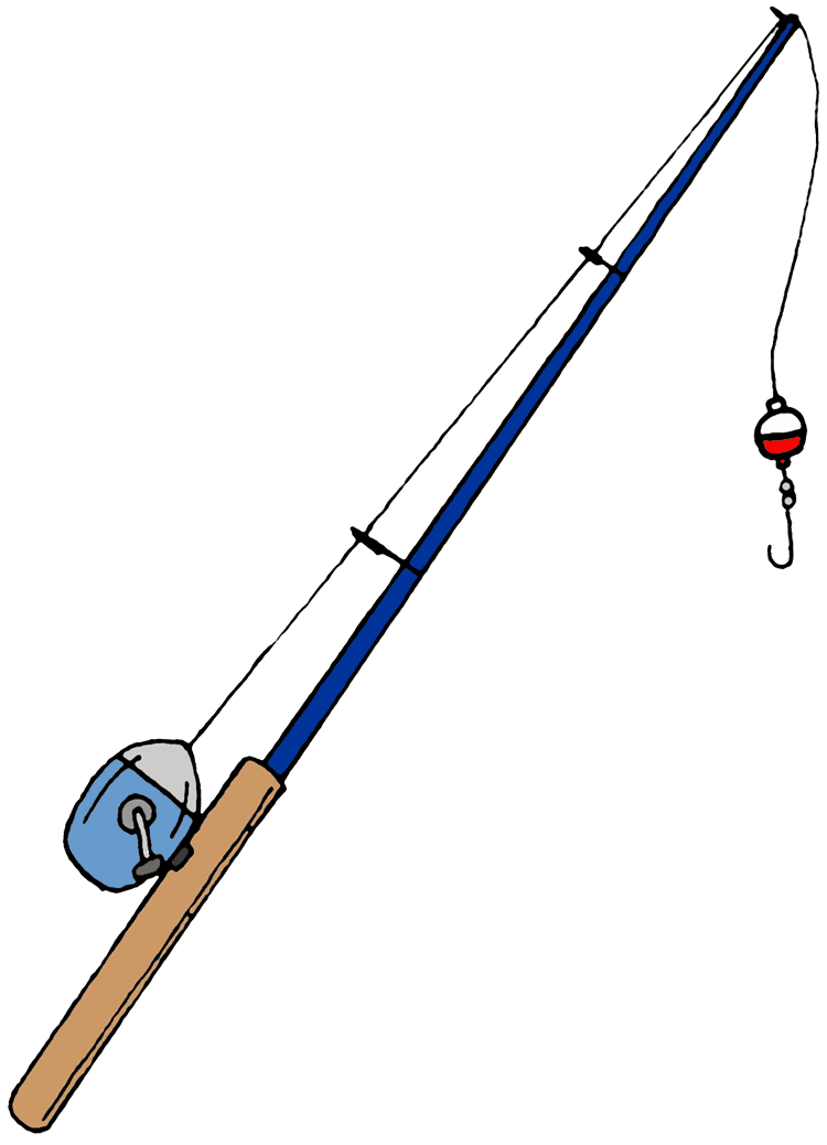 Fishing rod with fish clipart