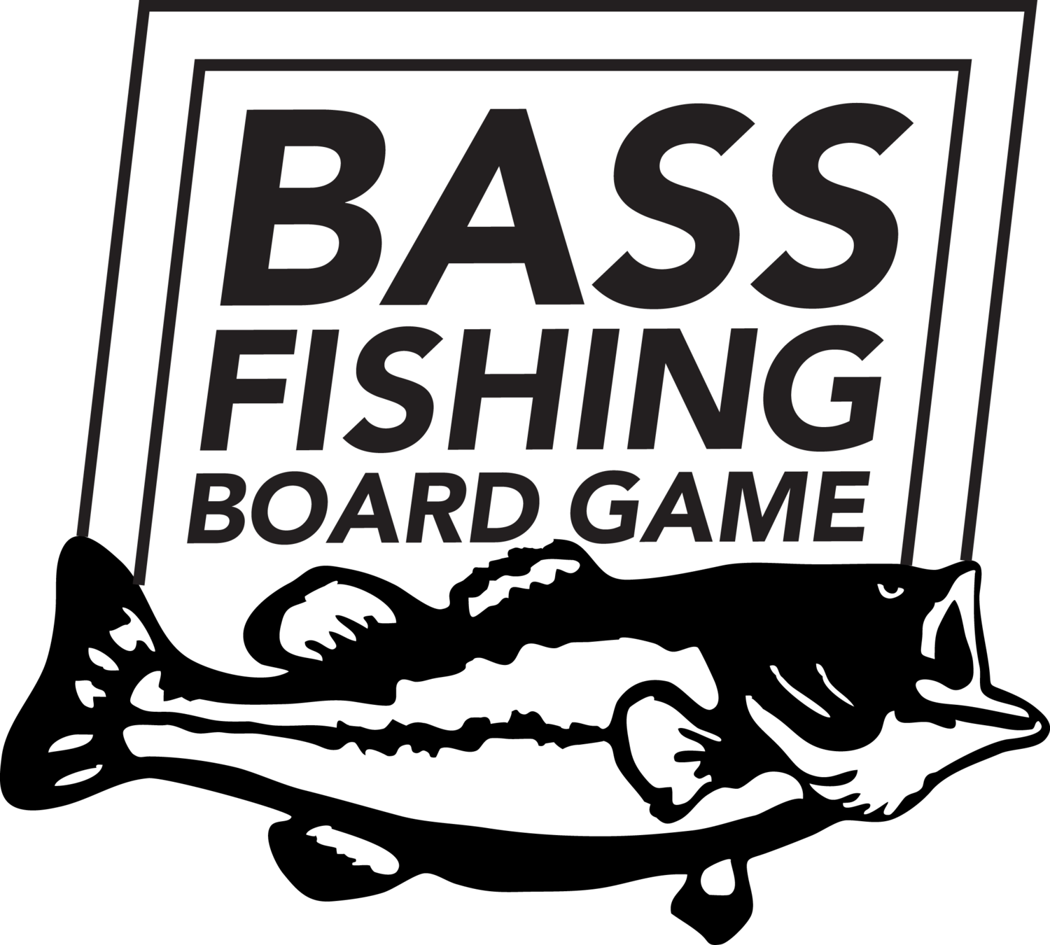 Bass fish black and white clipart picture Bass Fishing Board Game picture