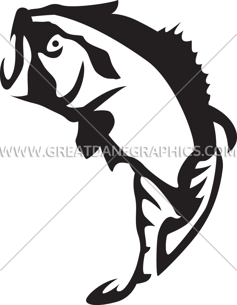 Bass fish clipart black and white image download Large Mouth Bass Jumping | Production Ready Artwork for T-Shirt Printing image download