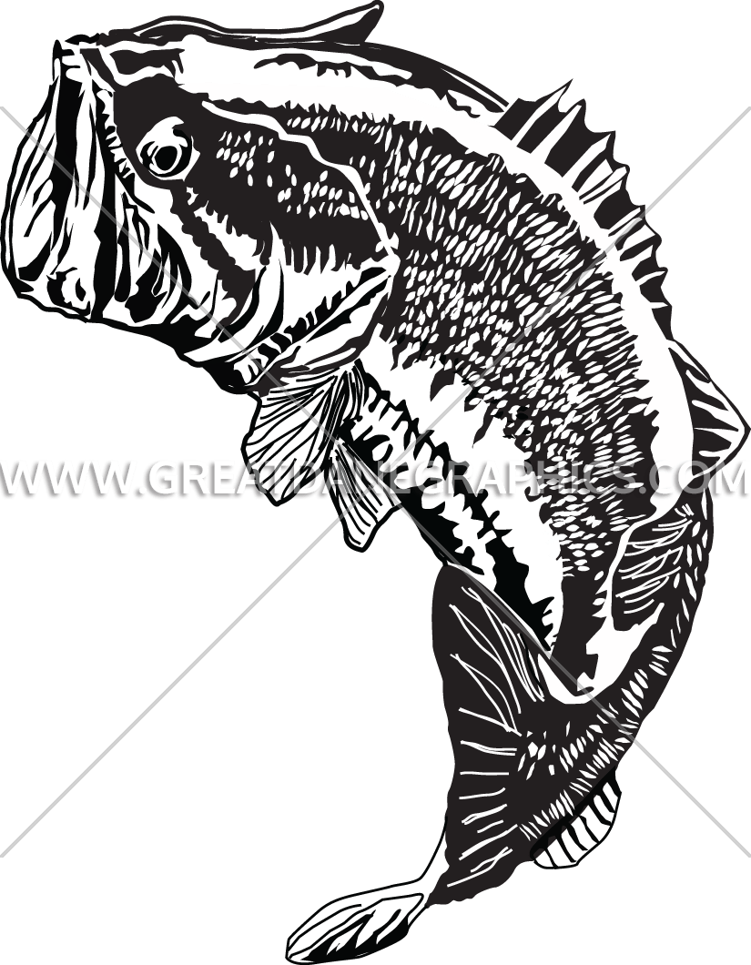 Bass fish clipart black and white svg transparent library Large Mouth Bass Jumping | Production Ready Artwork for T-Shirt Printing svg transparent library