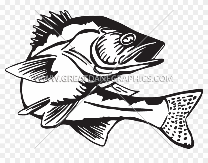 Bass fishing clipart clipart library download Banner Royalty Free Bass Fishing Clipart - Black And White Walleye ... clipart library download