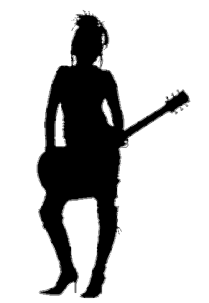 Bass guitar girl silhouette clipart graphic black and white download Free download of Girl Rocker Silhouette Vector Graphic - Vector.me graphic black and white download