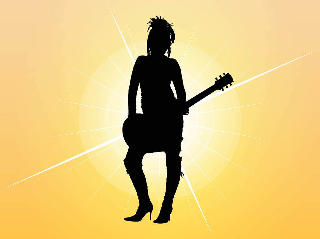 Bass guitar girl silhouette clipart vector royalty free library Girl With Guitar Silhouette Vector Art & Graphics | freevector.com vector royalty free library
