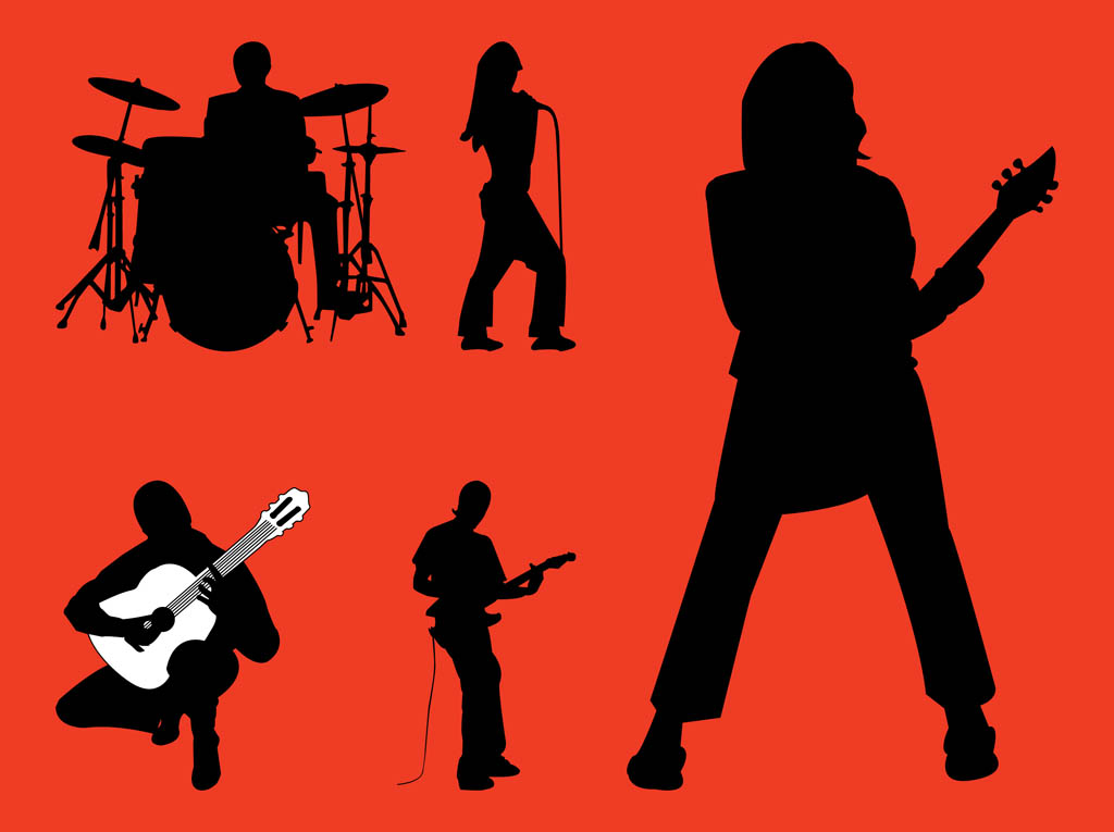 Bass guitar girl silhouette clipart clip royalty free Rock Band Silhouettes Graphics Vector Art & Graphics | freevector.com clip royalty free