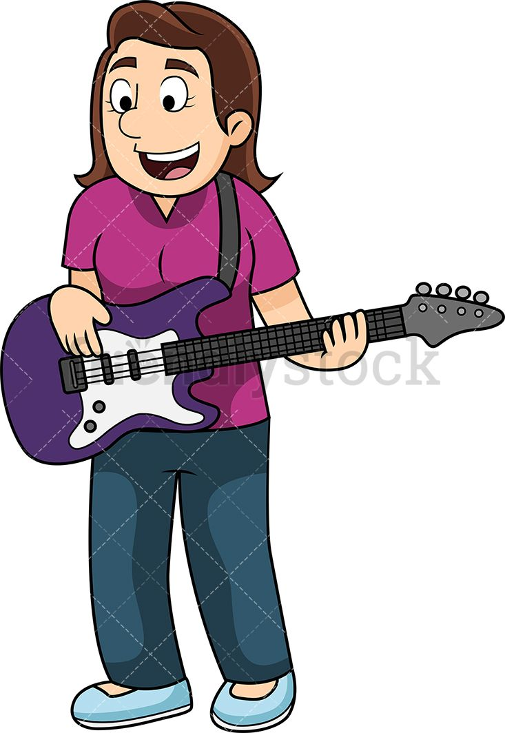Bass guitar player free clipart transparent download Young Woman Playing The Bass Guitar | Vector Illustrations | Vector ... transparent download