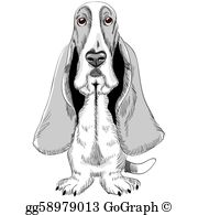 Basset hound clipart free back and white png royalty free download Basset Hound Clip Art - Royalty Free - GoGraph png royalty free download