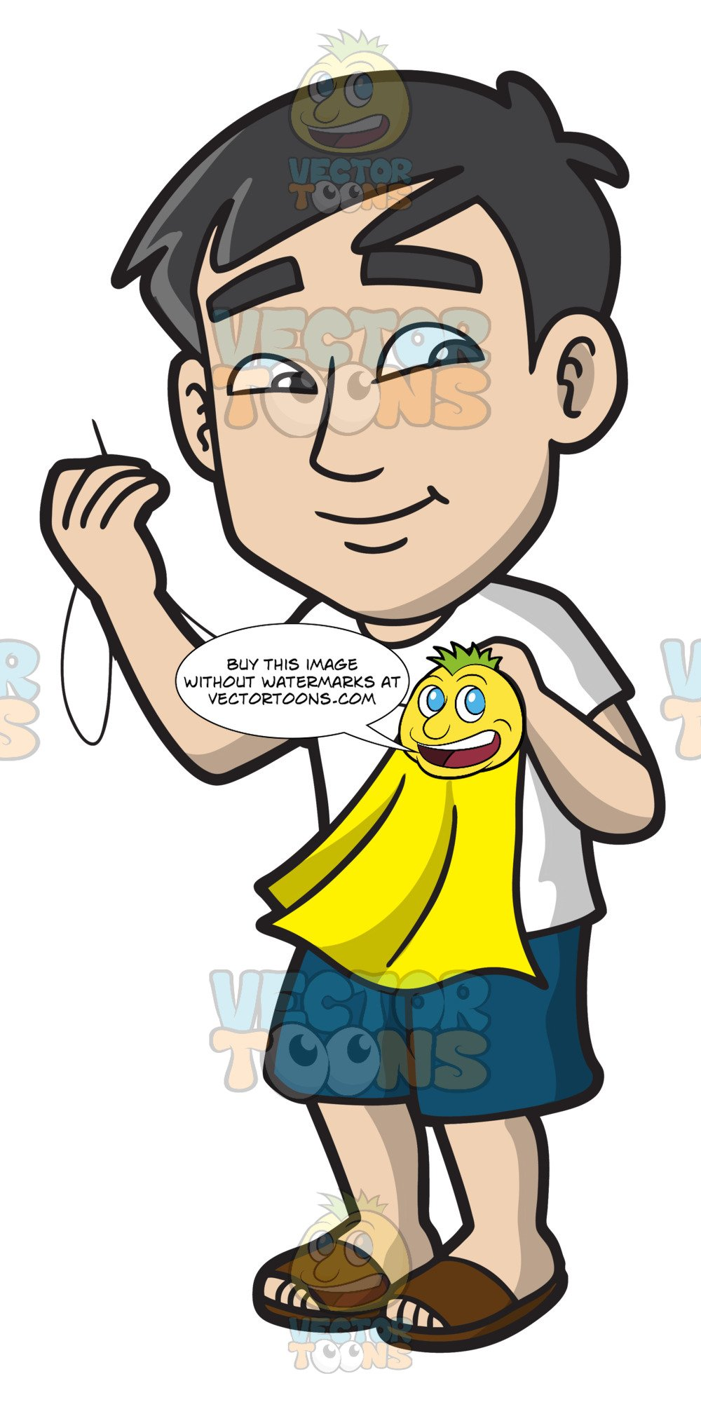 Baste clipart banner stock An Asian Guy Sewing A Patch Into A Piece Of Cloth banner stock