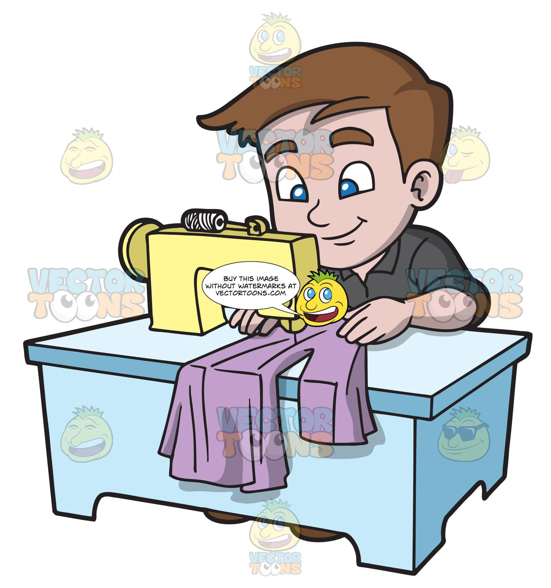 Baste clipart clip black and white A Boy Sewing A Dress Shirt clip black and white