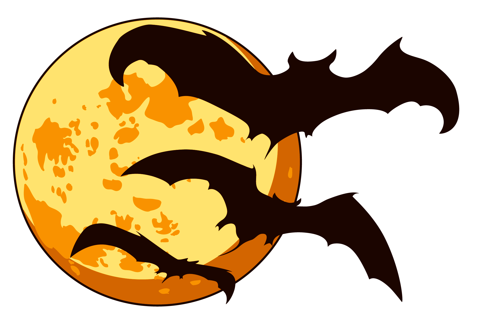 Microsoft clipart halloween vector transparent Orange Halloween Moon with Bats PNG Clipart | Gallery Yopriceville ... vector transparent