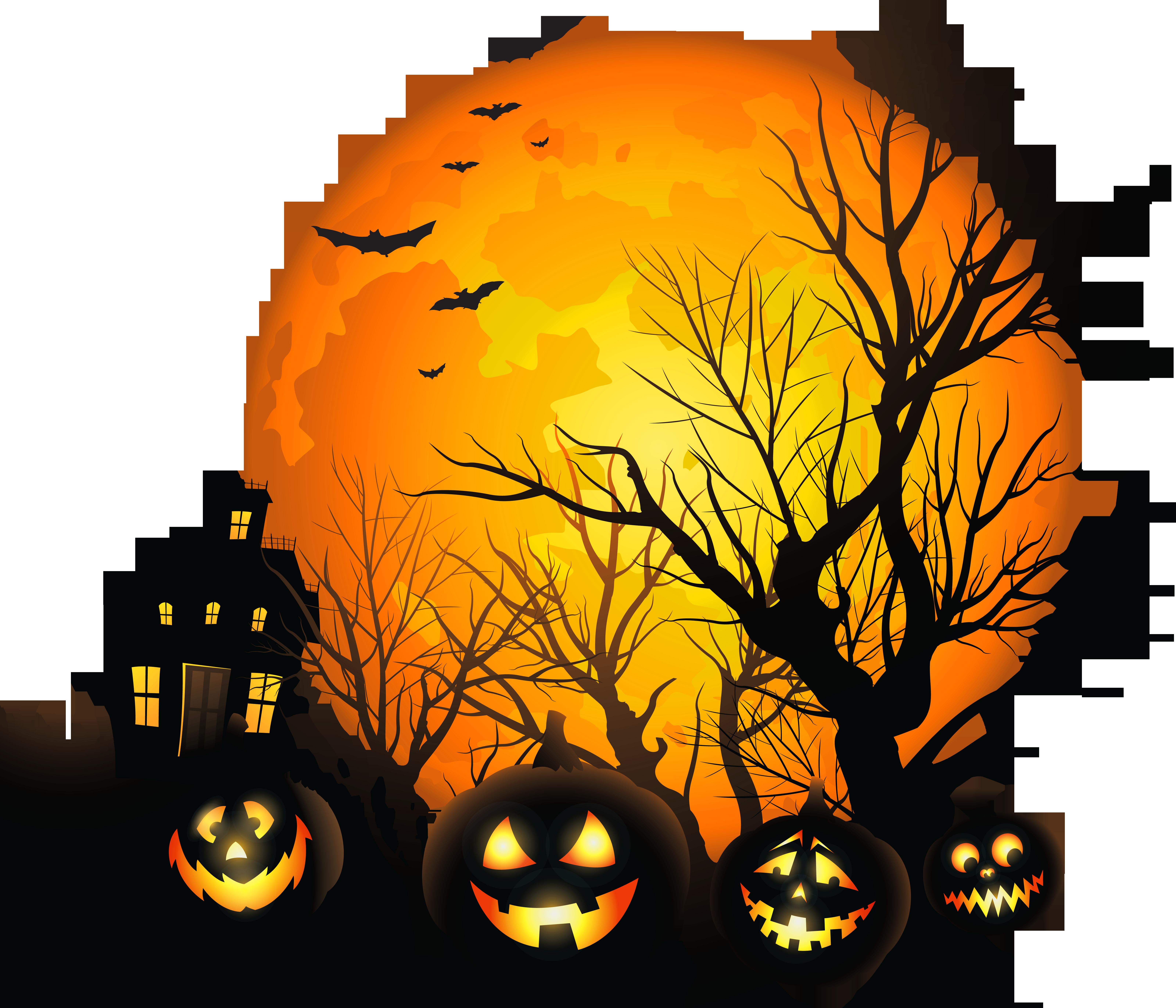 Bat house clipart vector library Sun, Bat, Pumpkin, Tree, Night, Halloween Clipart Png - 3936 ... vector library