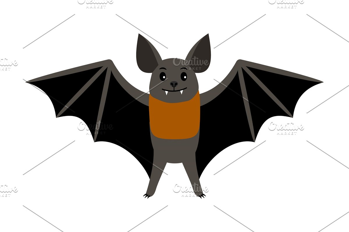 Bat scary clipart clipart black and white Bat. Vampire bat vector illustration scary halloween flying isolated icon clipart black and white