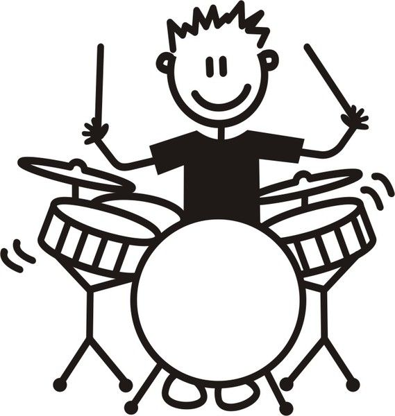 Baterista clipart graphic free download Hombre Joven Baterista | Happy kids and things | Female drummer ... graphic free download