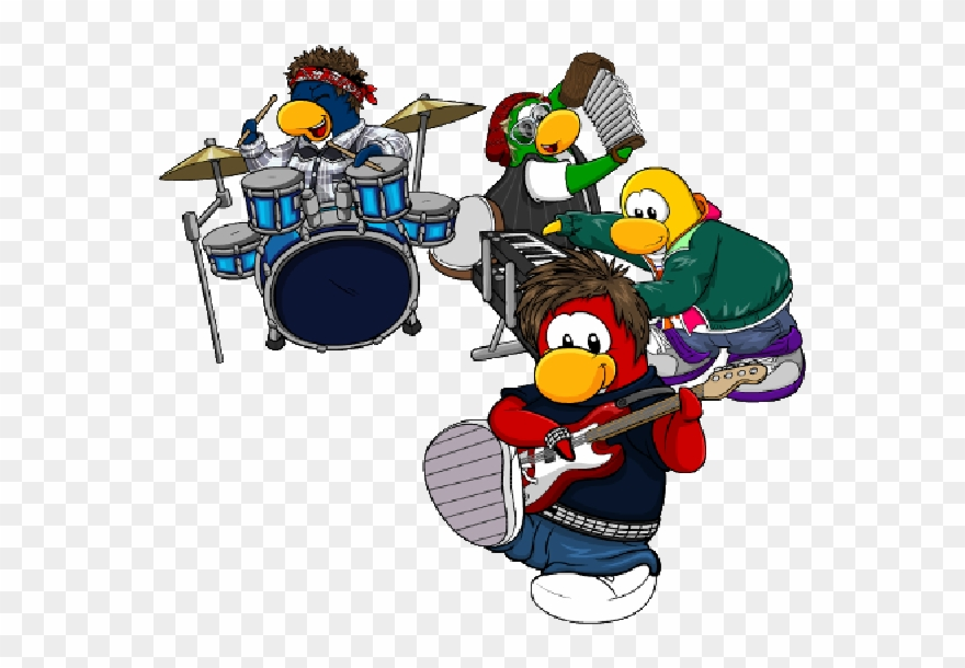Baterista clipart vector transparent download Club Penguin Cartoon Picture Images Wondering Clip - Pinguino ... vector transparent download