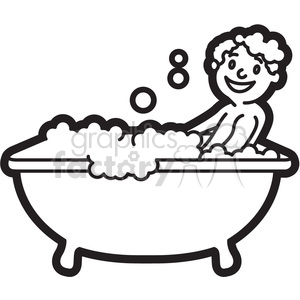 Bath clipart picture download boy taking a bath black and white outline clipart. Royalty-free clipart #  397938 picture download