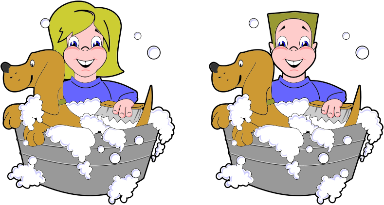 Dog wash clipart clip free Clipart - Girl And Boy Washing Dogs clip free