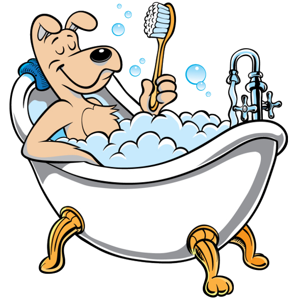 Funny animal images of. Dog in tub clipart
