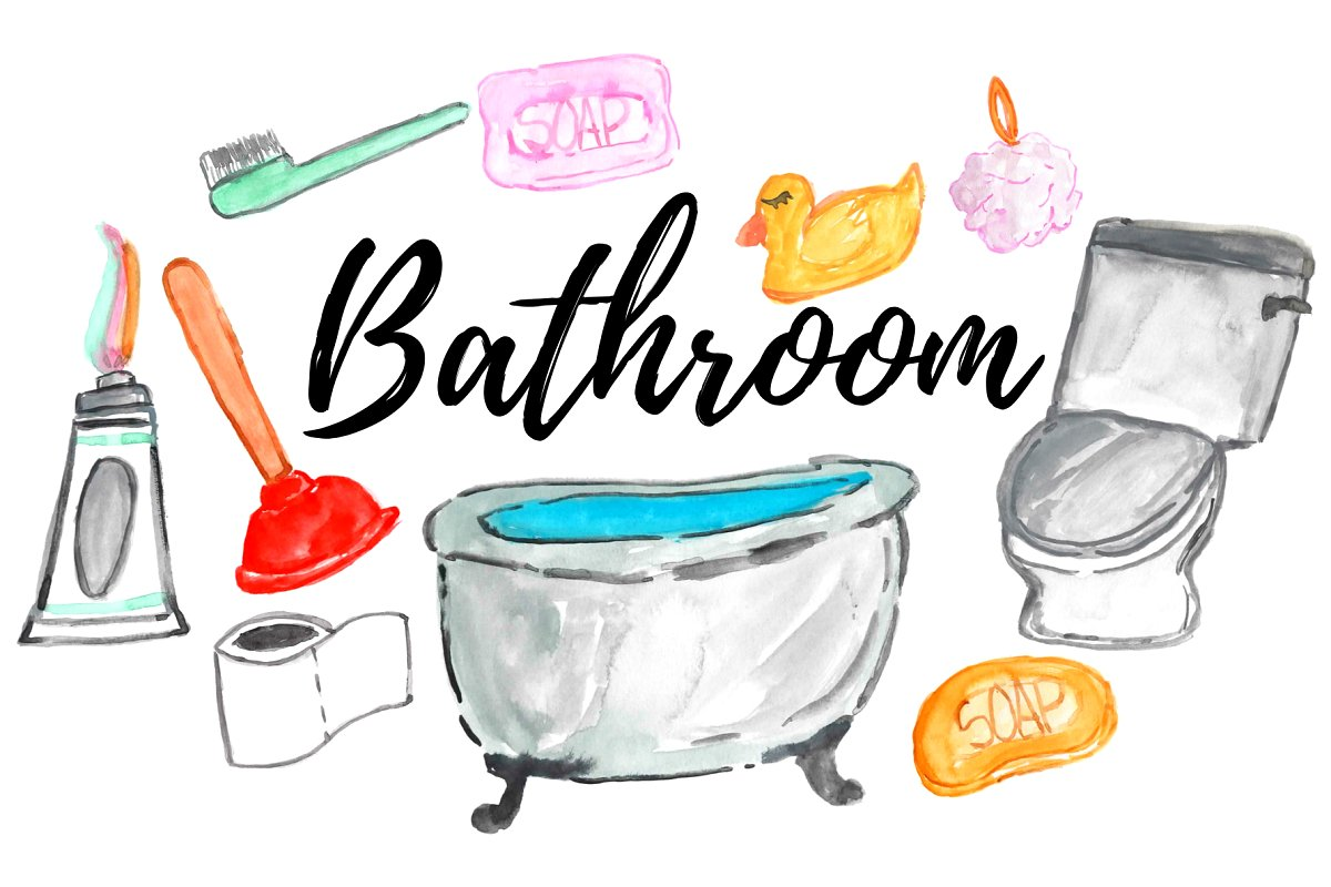 Bathroo clipart royalty free library watercolor home bathroom clipart royalty free library