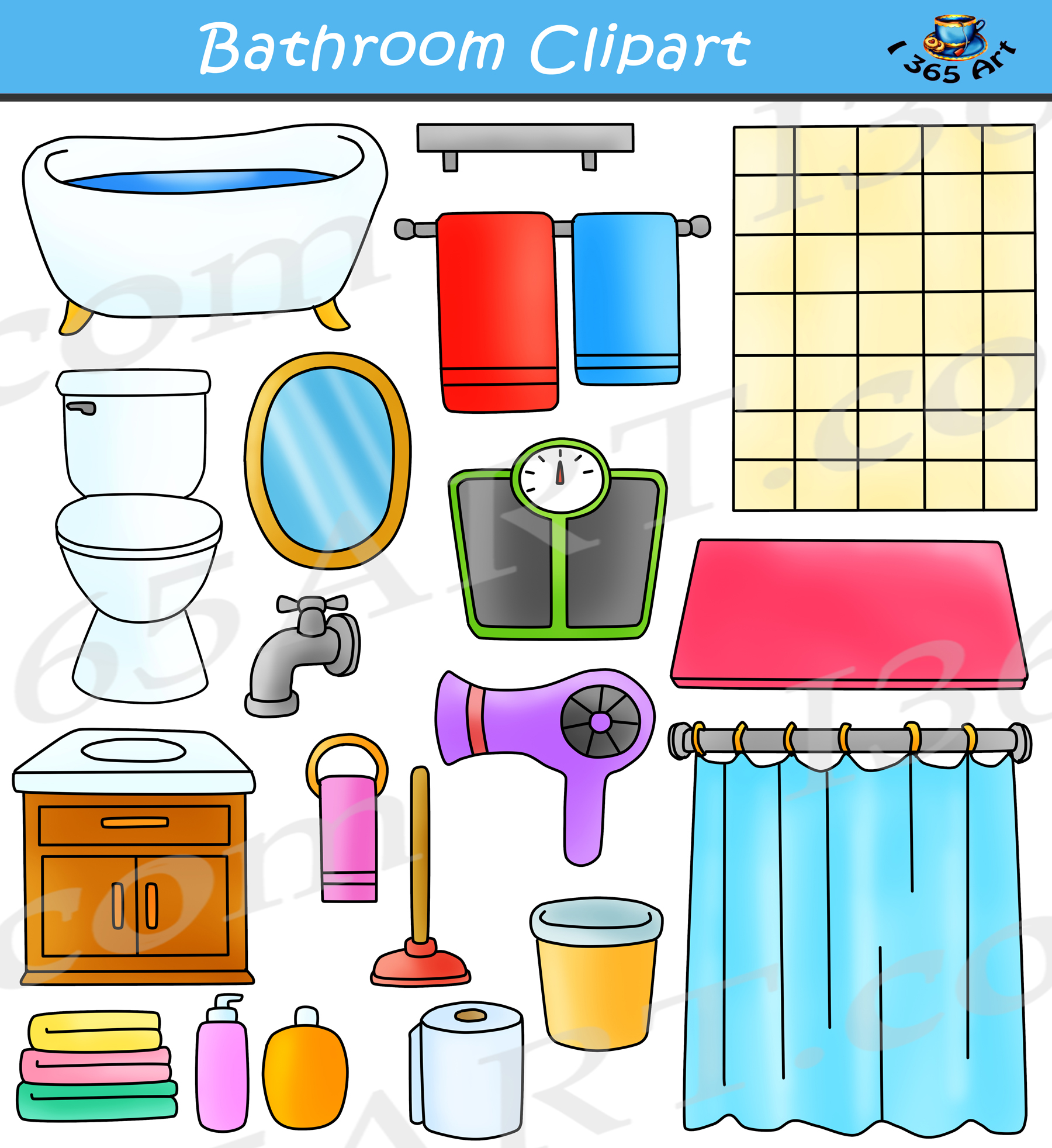 Bathroo clipart vector free download Bathroom Clipart Set vector free download