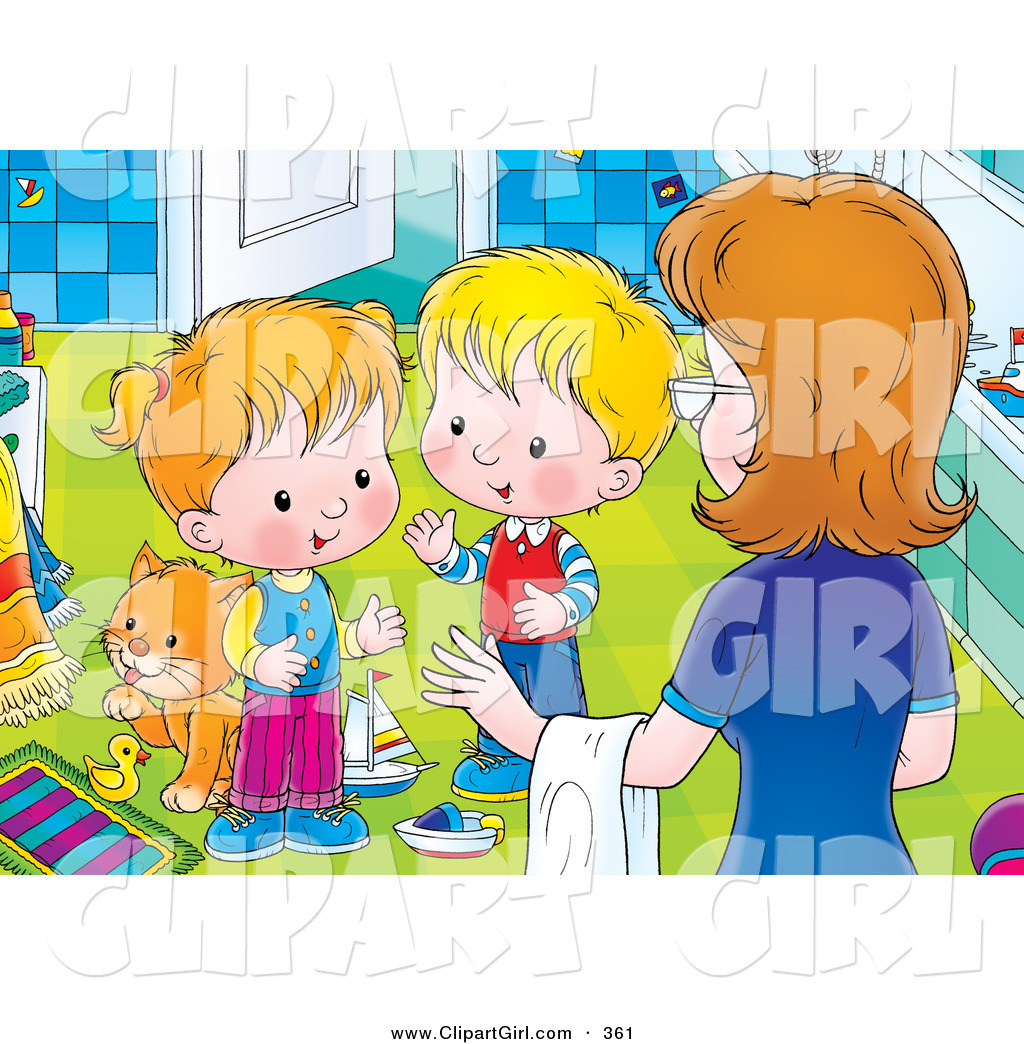 Bathroom clean up clipart clipart royalty free Clip Art of a Mother Instructing Her Two Little Children to Clean up ... clipart royalty free