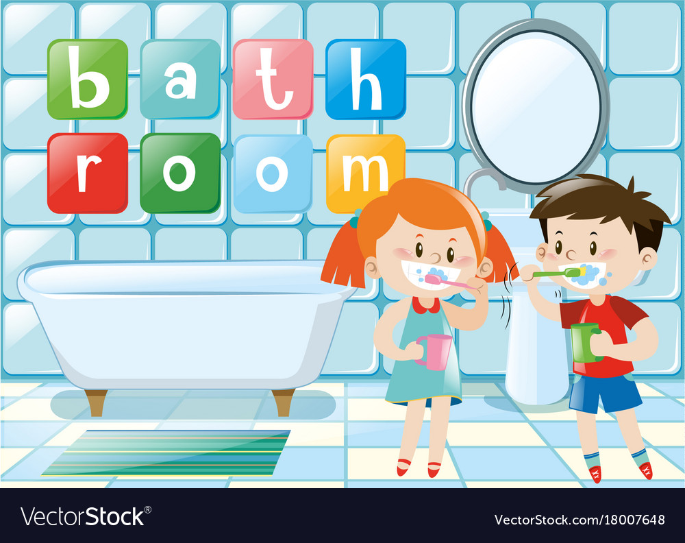 Bathroom clipart for kids vector royalty free library Two kids brushing teeth in bathroom vector royalty free library