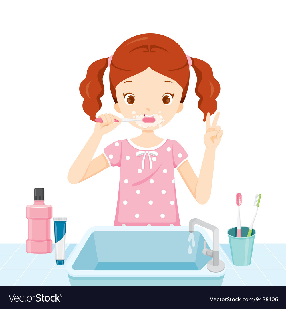 Bathroom girl clipart graphic black and white library Girl In Pyjamas Brushing Her Teeth In Bathroom graphic black and white library